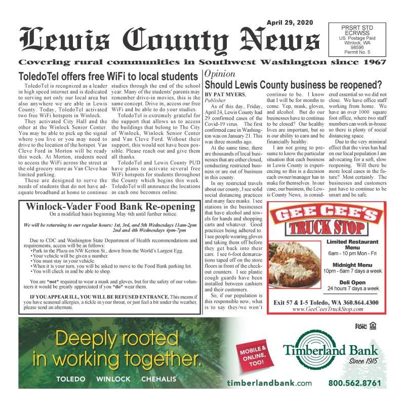 April 29, 2020 Lewis County News