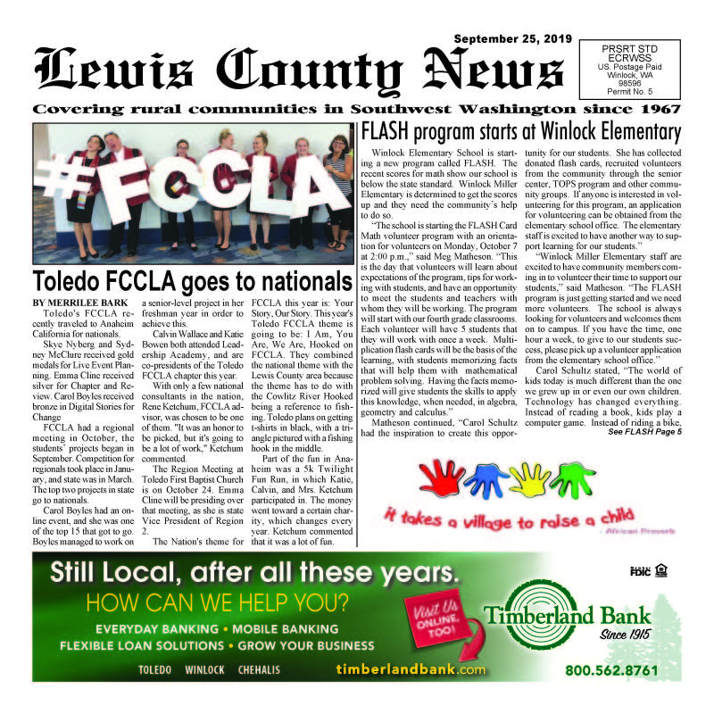 September 25, 2019 Lewis County News (Town Crier)