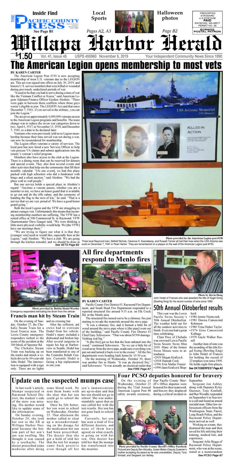 November 6, 2019 Willapa Harbor Herald and Pacific County Press
