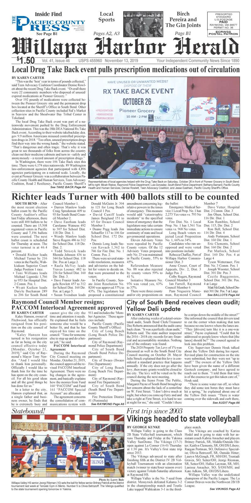November 13, 2019 Willapa Harbor Herald and Pacific County Press