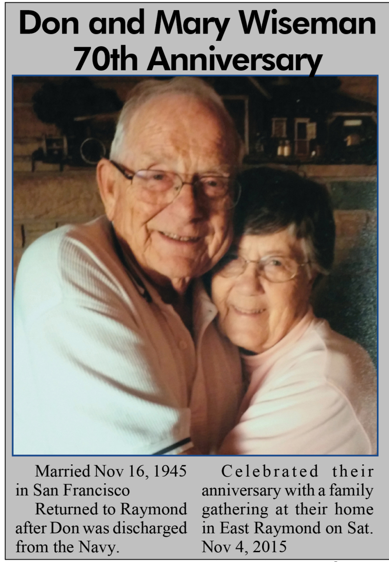Don and Mary Wiseman  70th Anniversary