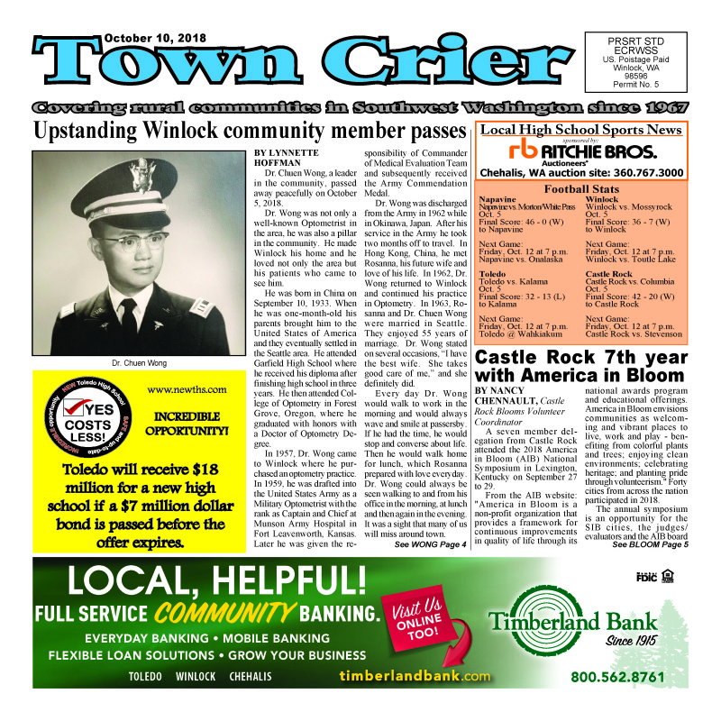 October 10, 2018 Town Crier