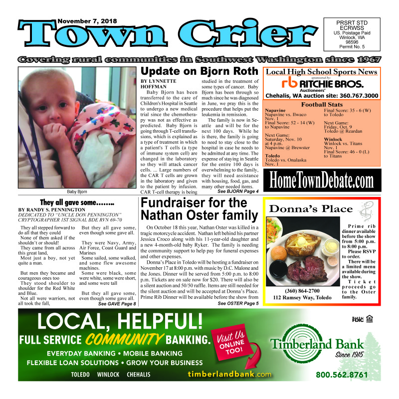 November 7, 2018 Town Crier