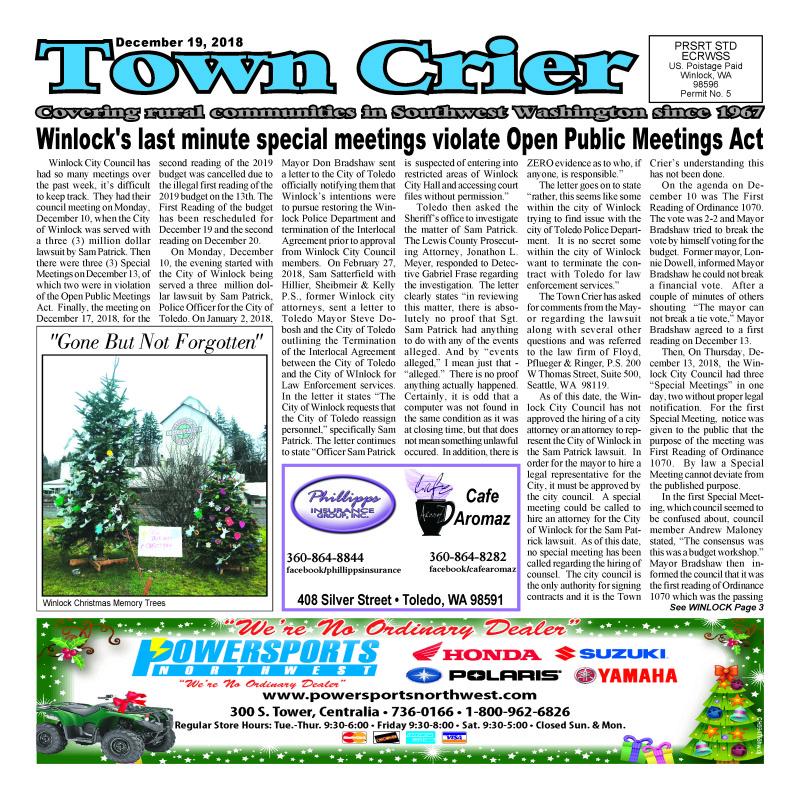December 19, 2018 Town Crier
