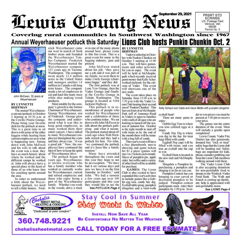 September 29, 2021 Lewis County News
