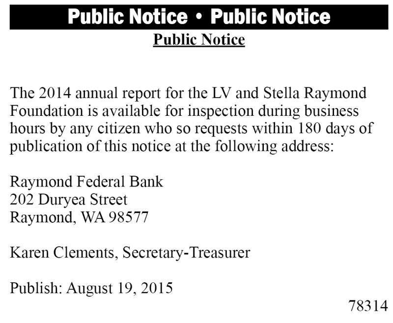 Legal 78314: Public Notice