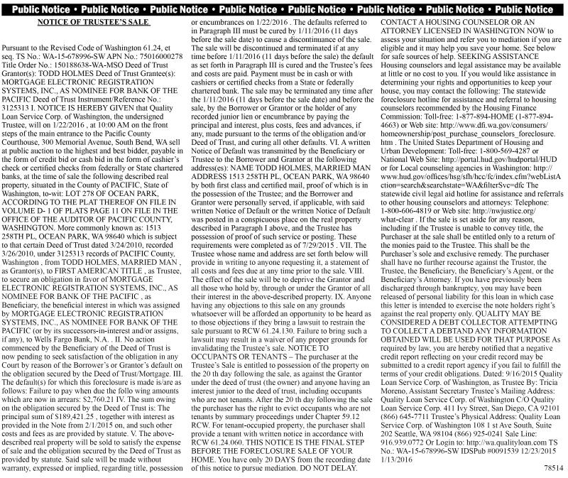LEGAL 78514: NOTICE OF TRUSTEE'S SALE