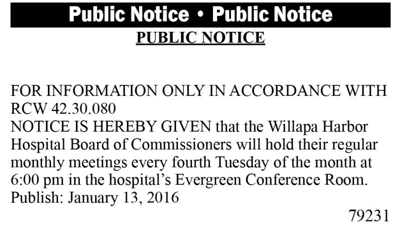 LEGAL 79231: WILLAPA HARBOR HOSPITAL BOARD MEETING