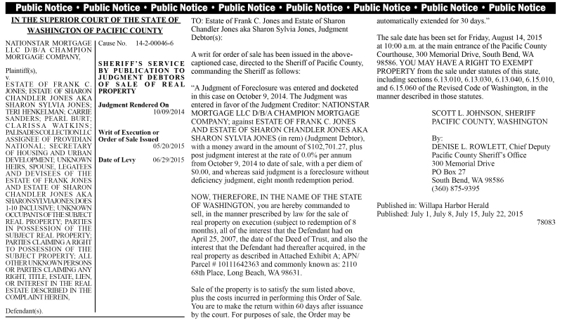 Legal 78083: IN THE SUPERIOR COURT OF THE STATE OF WASHINGTON OF PACIFIC COUNTY