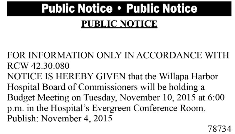 Legal 78734: Willapa Harbor Hospital Public Notice