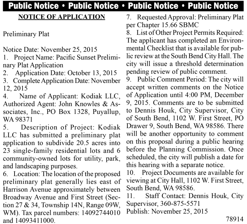 LEGAL 78914: Pacific Sunset Preliminary Plat Application