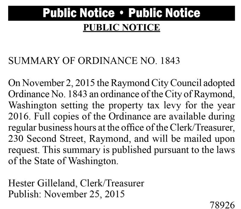 LEGAL 78926: Summary of Ordinance No. 1843