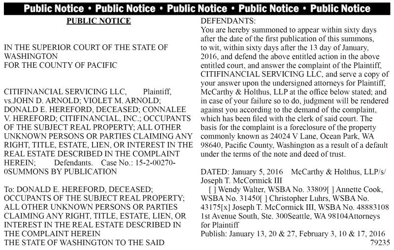 LEGAL 79235: PUBLIC NOTICE