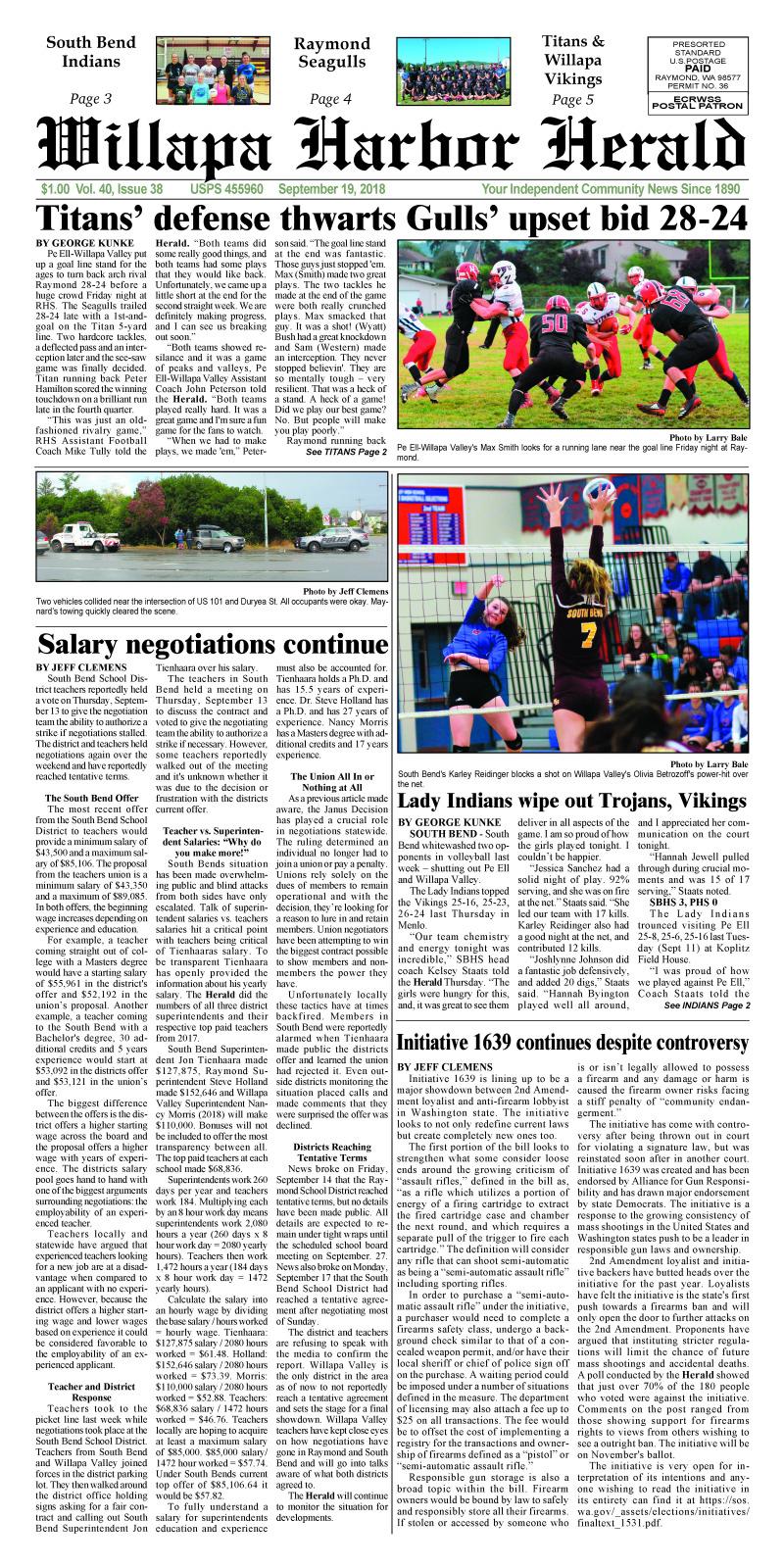 September 19, 2018 Willapa Harbor Herald