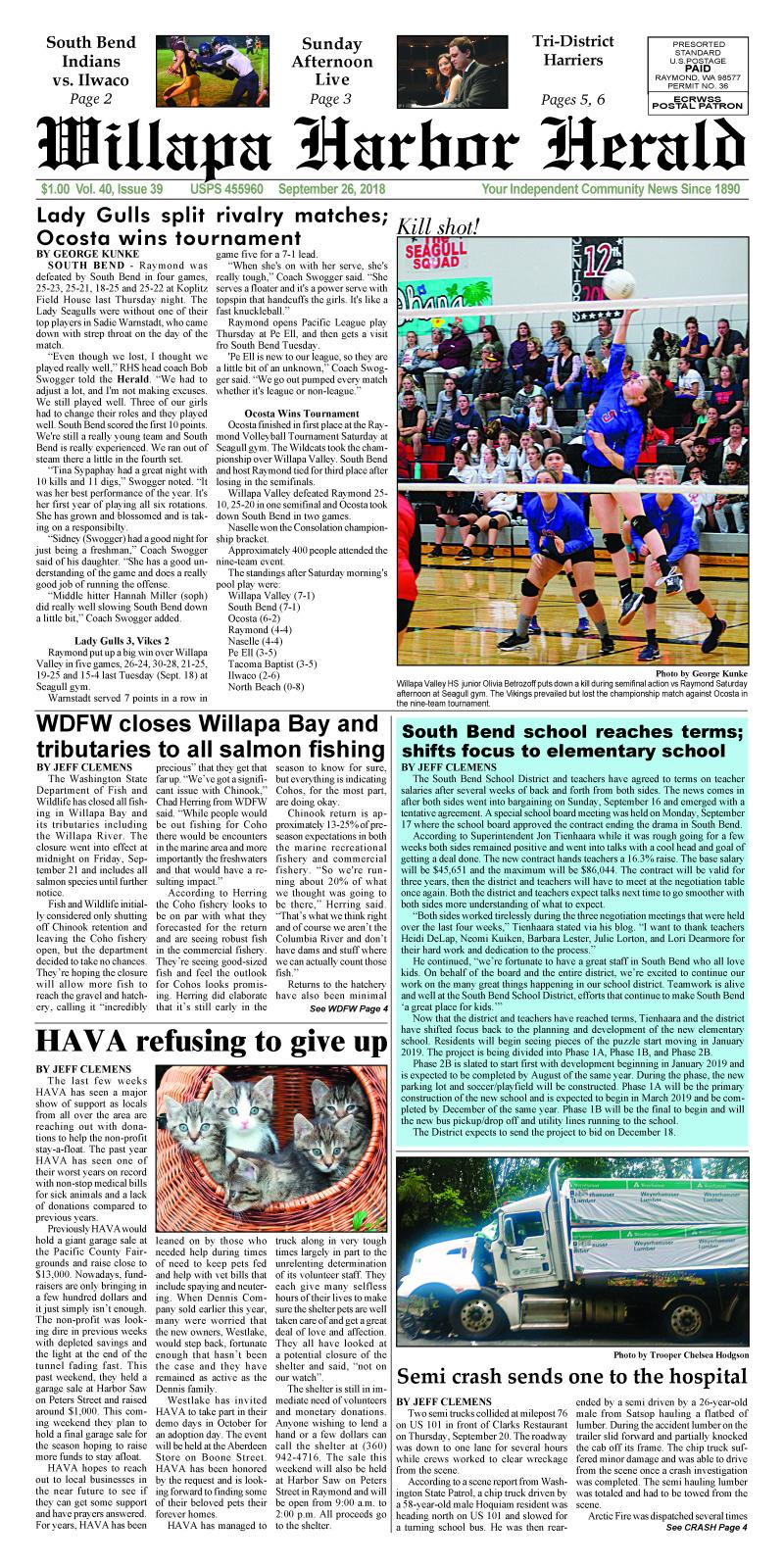 September 26, 2018 Willapa Harbor Herald