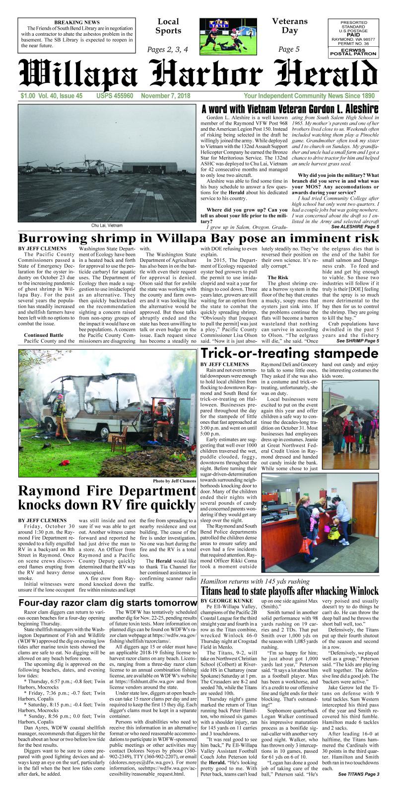 November 7, 2018 Willapa Harbor Herald