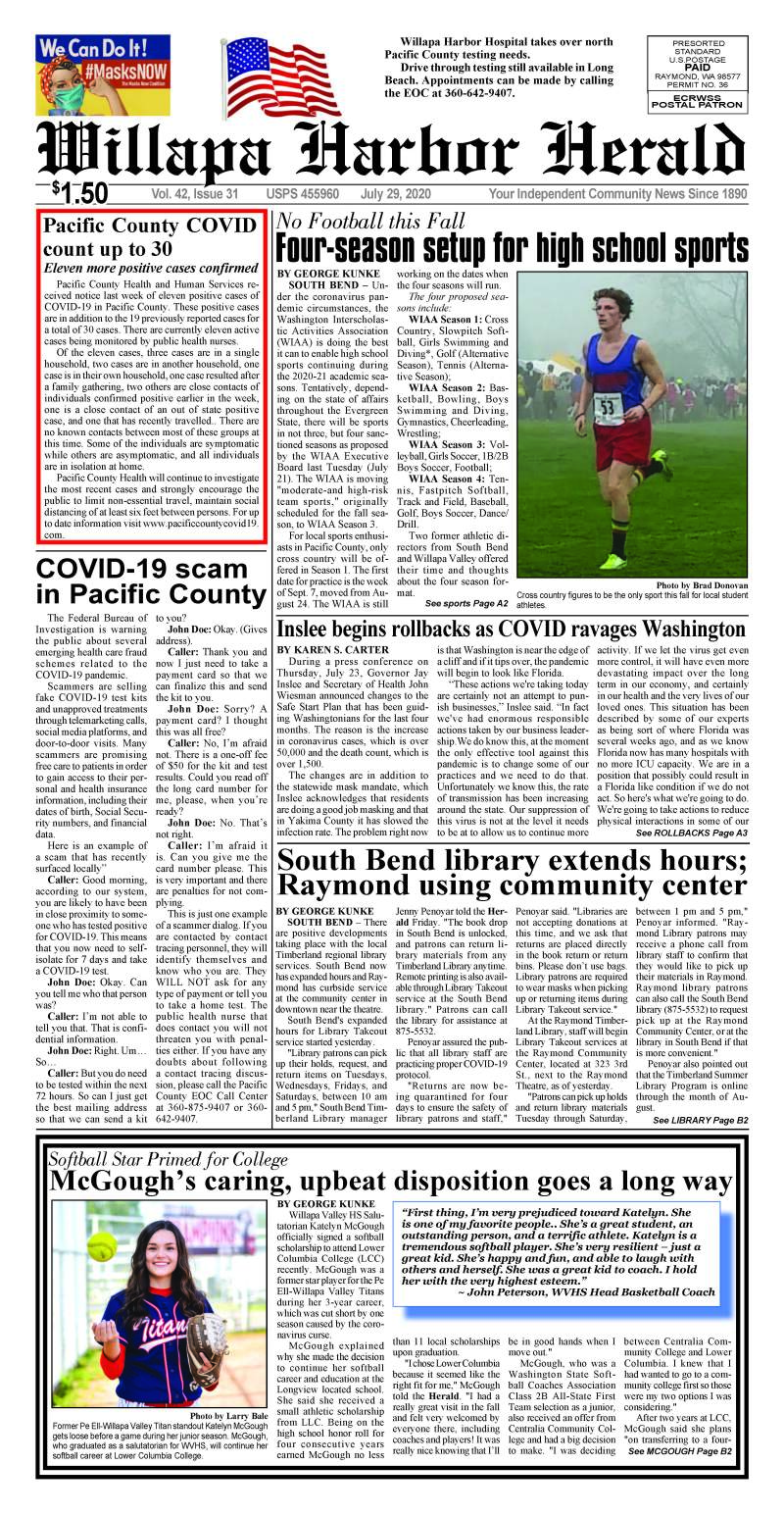 July 29, 2020 Willapa Harbor Herald and Pacific County Press