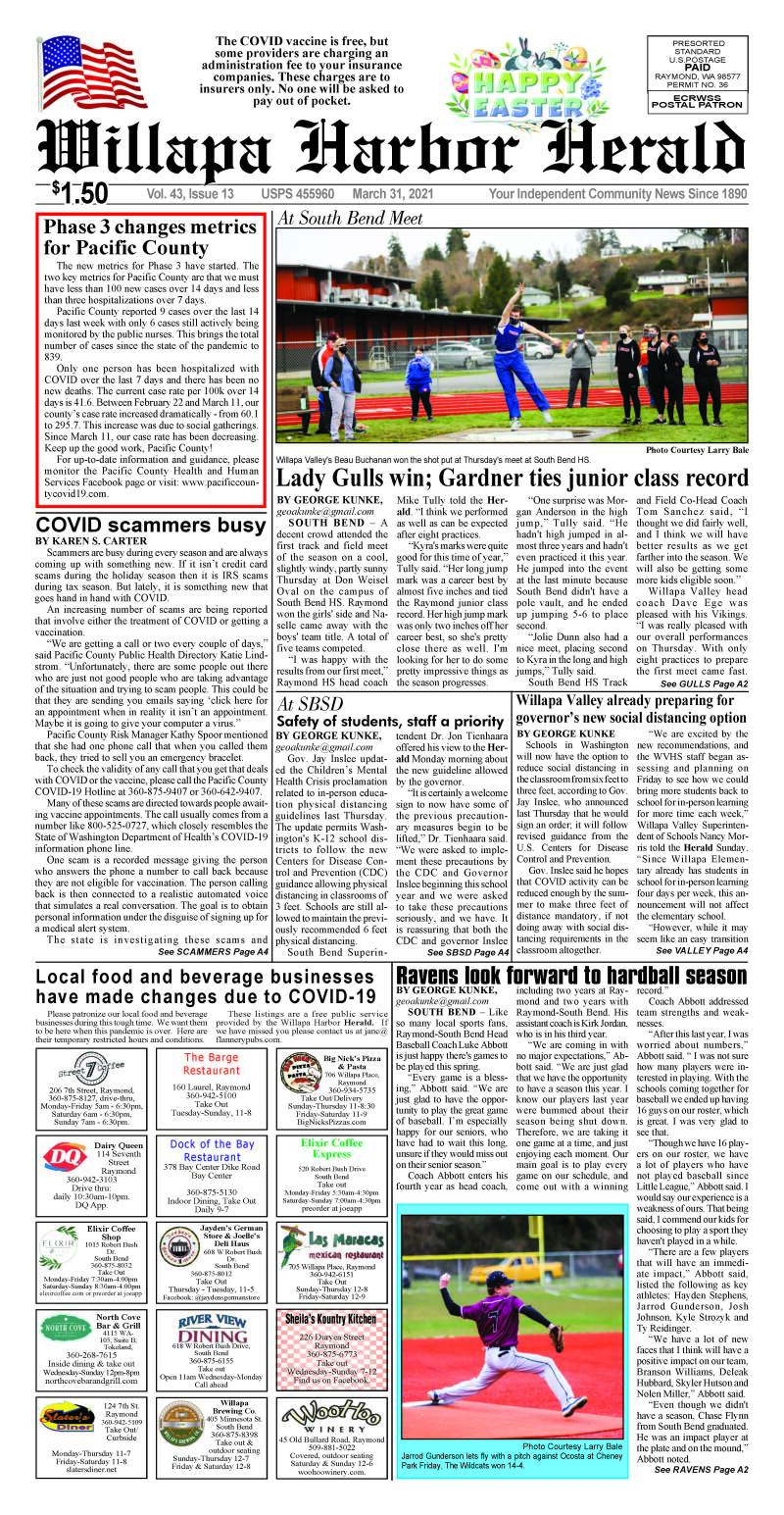 March 31, 2021 Willapa Harbor Herald and Pacific County Press