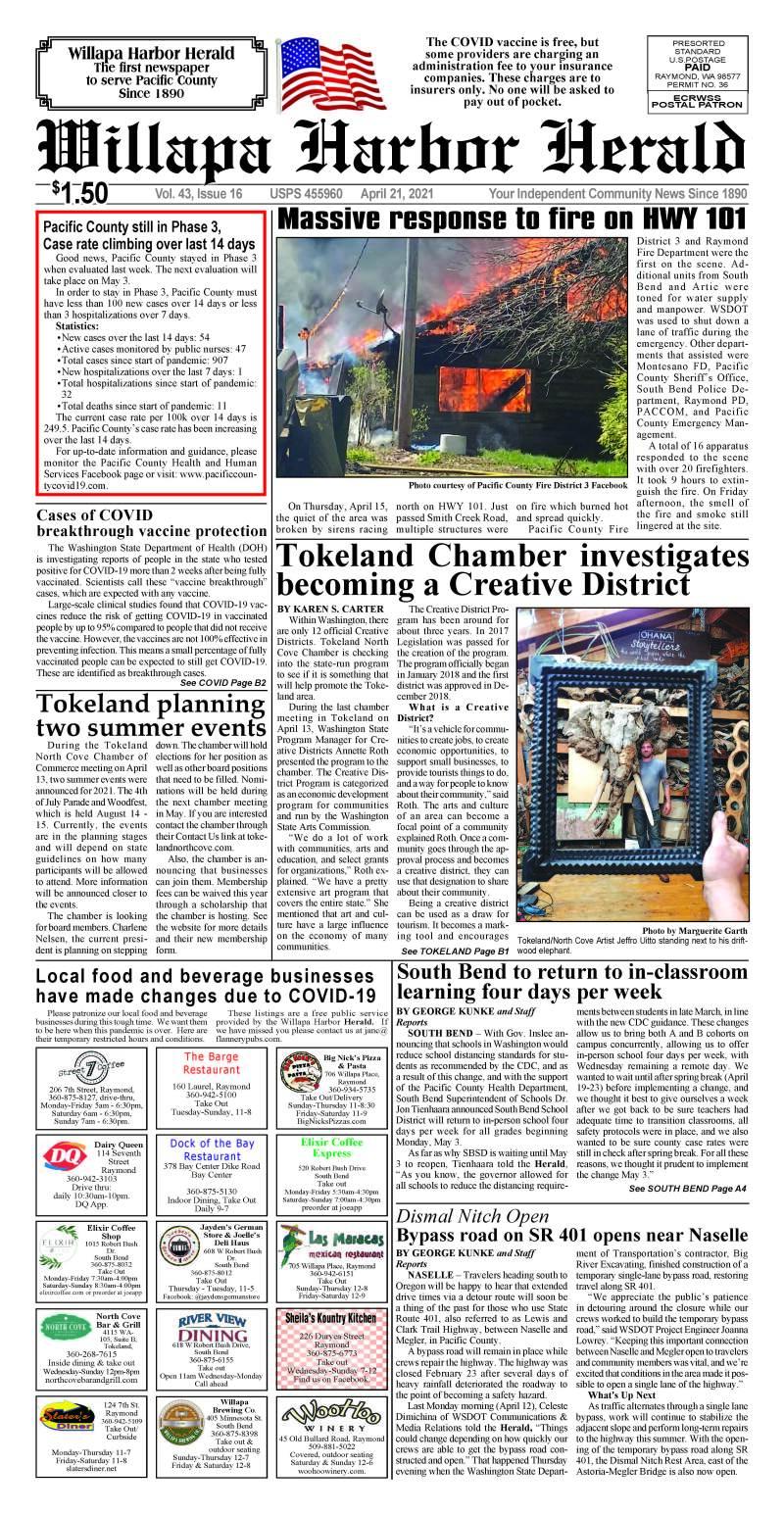 April 21, 2021 Willapa Harbor Herald and Pacific County Press