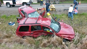 Two-car crackup on Route 6 Monday