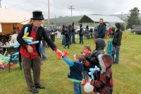Crowds brave a drizzly May Day in Vader last weekend