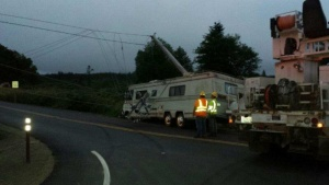 Wreck on Highway 6 takes out powers poles
