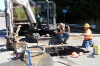 Traffic held up by sinkhole repairs in Vader last week
