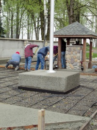 Foundation finished at wall of honor