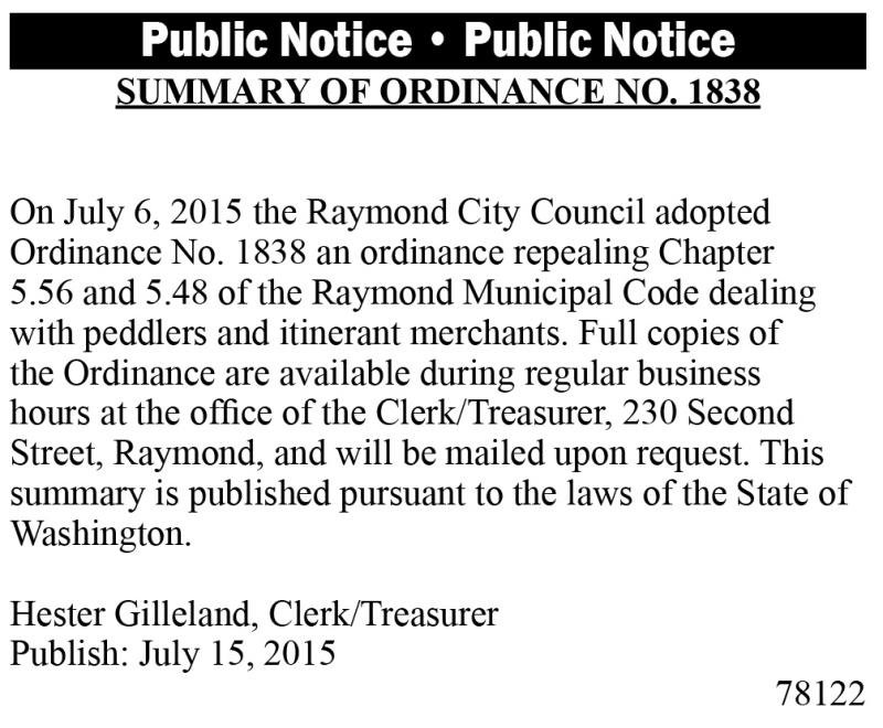 Legal 78122: SUMMARY OF ORDINANCE NO. 1838