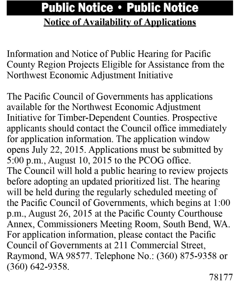 Legal 78177: Notice of Availability of Applications