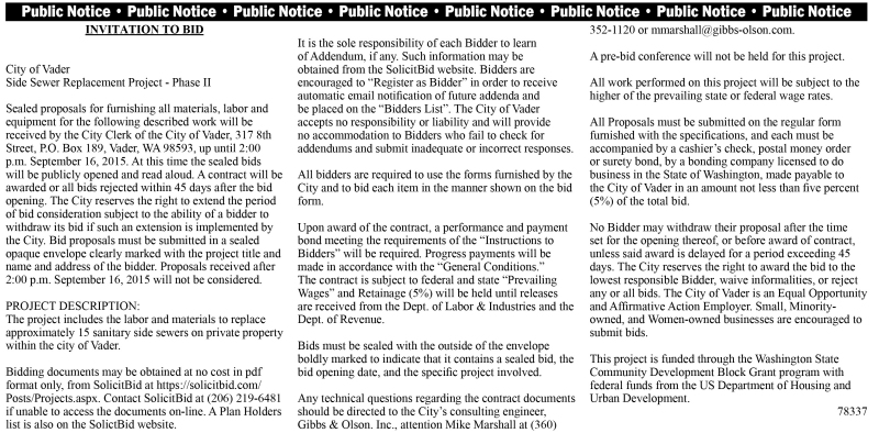 Legal 78337: INVITATION TO BID