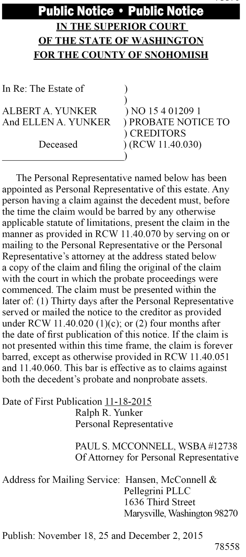 Legal 78558: Probate Notice to Creditors