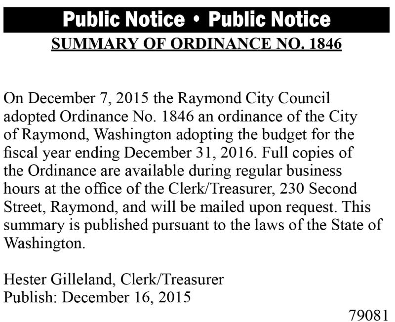 LEGAL 79081: Summary of Ordinance No. 1846
