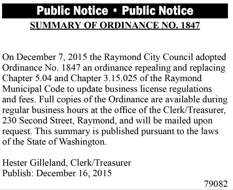 LEGAL 79082: Summary of Ordinance No. 1847