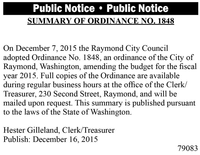 LEGAL 79083: Summary of Ordinance No. 1848