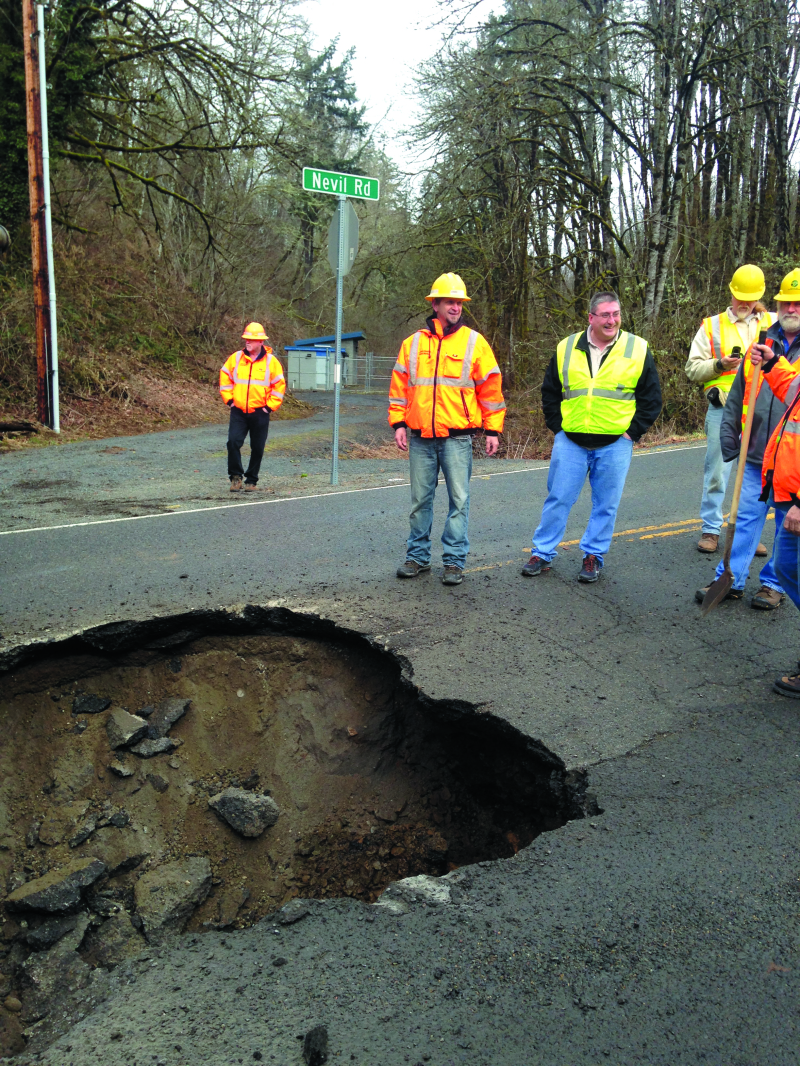 Sinkhole on HWY 505 and Nevil Road