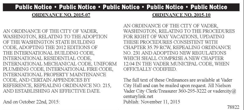 Legal 78822: Ordinance No. 2015-07 & 2015-10