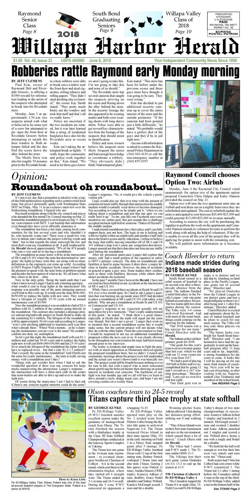 June 6, 2018 Willapa Harbor Herald