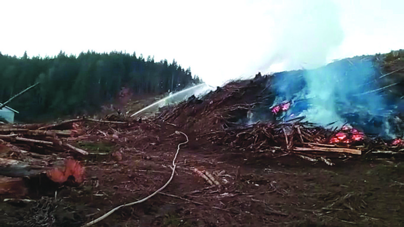 Wildfire erupts at recently logged site; loader operator takes flames head on