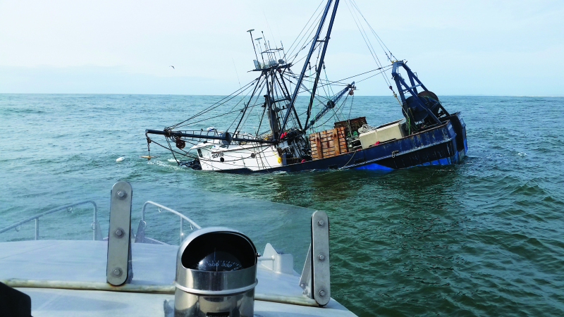 Sinking vessel causes issues near Grays Harbor
