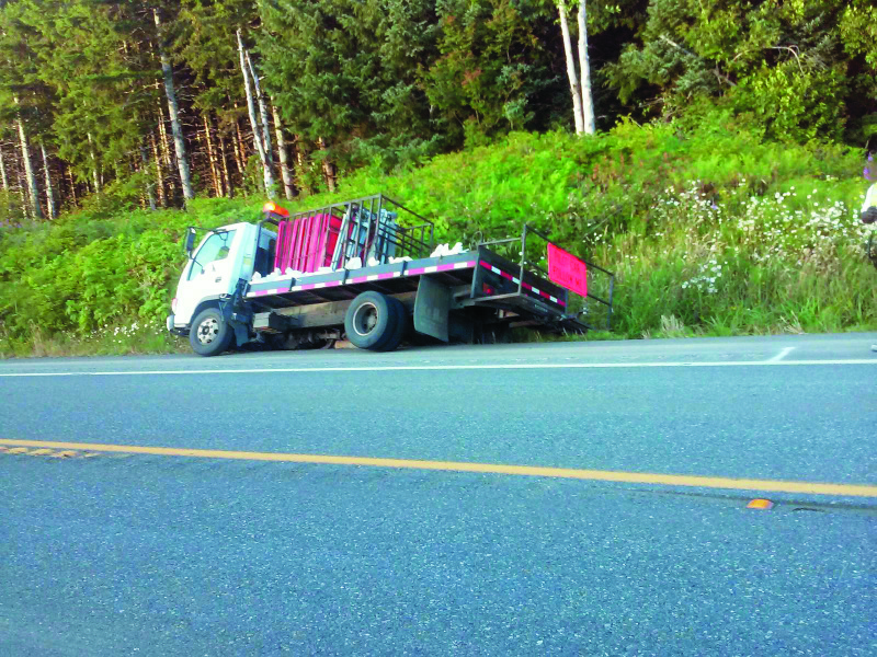 Pacific County Road Crew Truck almost tips