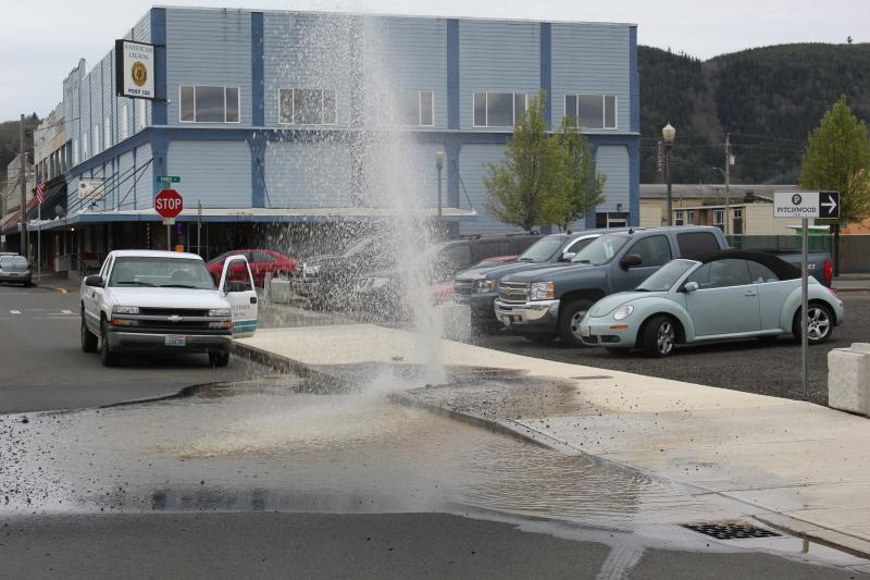 Water main burst in downtown Raymond